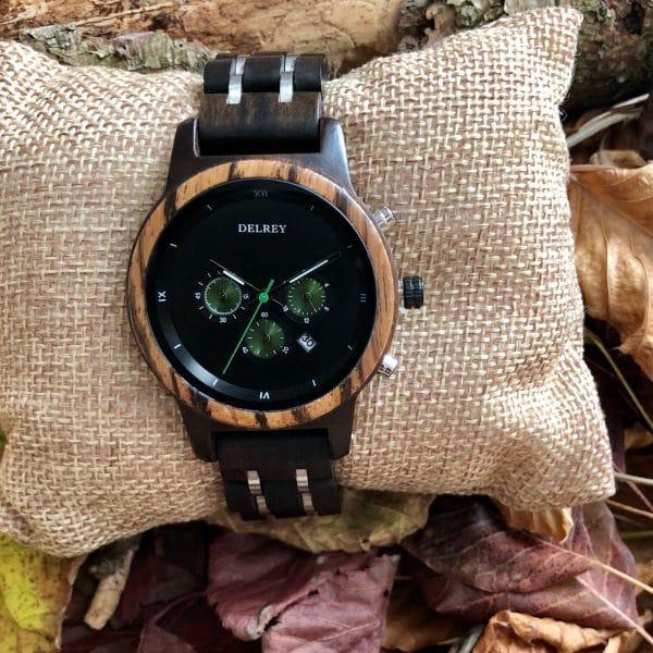 Holz Armbanduhr Green Leaf